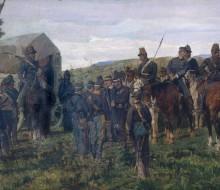 Episodio della battaglia di Custoza. Il principe Amedeo Ferito viene accompagnato dall'ambulanza
