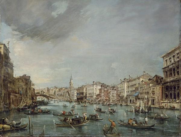 Veduta del Canal Grande verso Rialto con Palazzo Grimani e Palazzo Manin