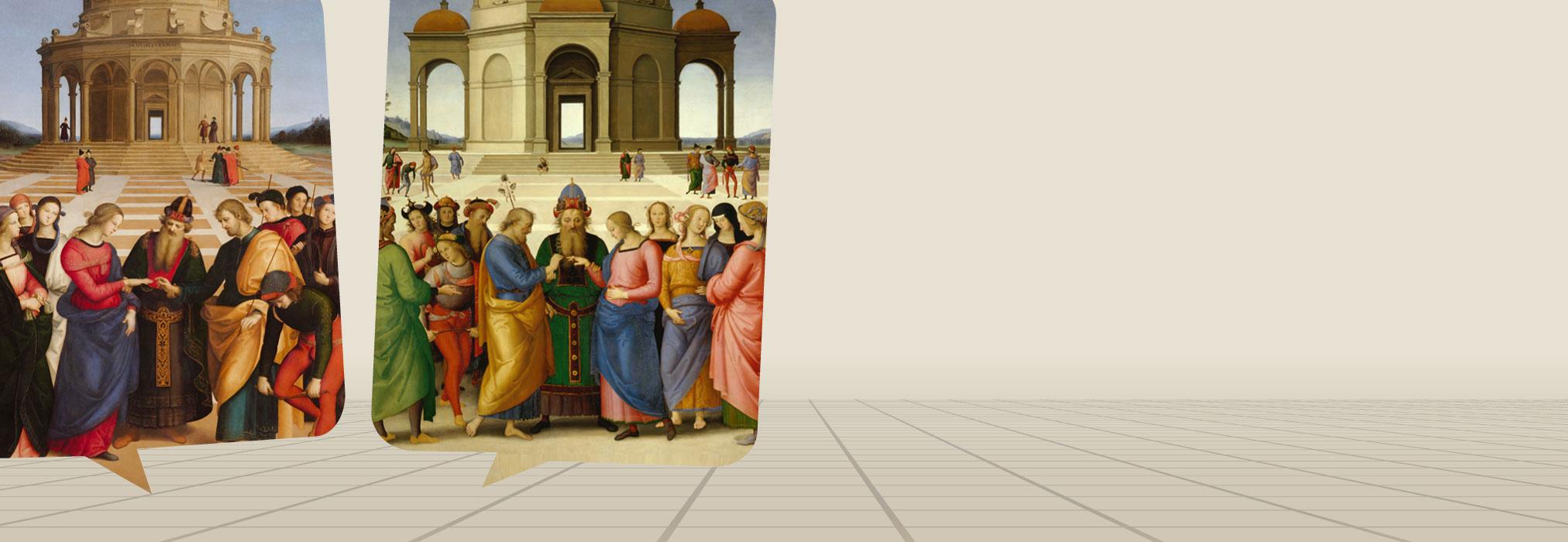 Raffaello e Perugino <br>attorno a due <br><em>Sposalizi della Vergine</em>