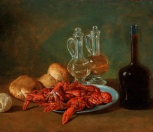 Still Life with Pewter Plate, Shrimps, a Lemon, Glass Cruets, Bread and a Bottle of Wine