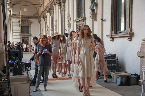 A Luisa Beccaria fashion show in the upper portico of the Pinacoteca di Brera.