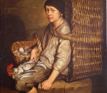 Porter Seated with a Basket, Eggs and Poultry