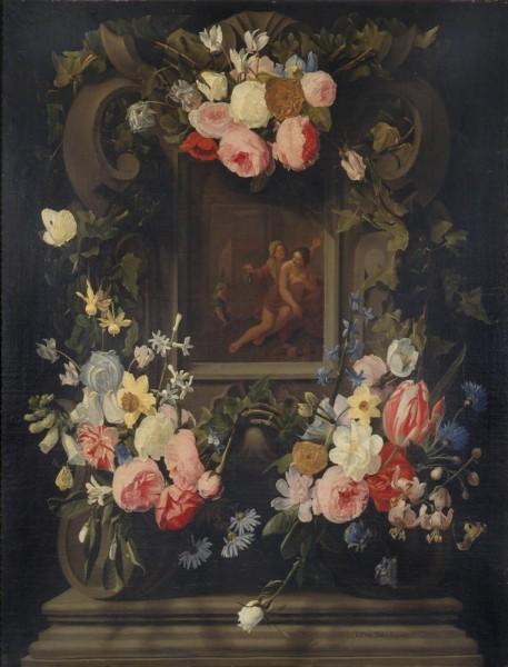 Ghirlanda di fiori con Vertumno e Pomona