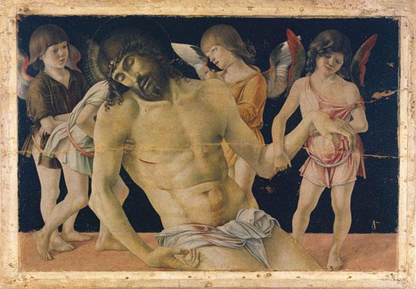 Giovanni Bellini, Cristo in pietà sorretto da quattro angeli (1470 ca.). Tempera e olio su tavola, trasportata su tela e fissata su supporto di vetroresina e alluminio. Rimini, Museo della Città