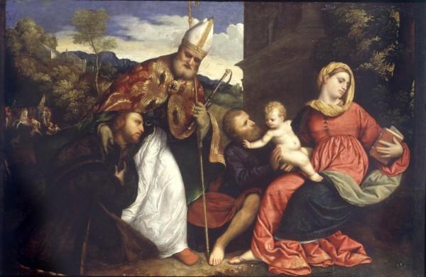 Sacra Famiglia e Sant'Ambrogio che presenta un offerente
