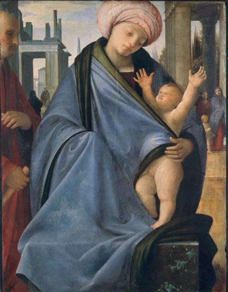 Madonna con il Bambino, figura maschile e figurette nello sfondo