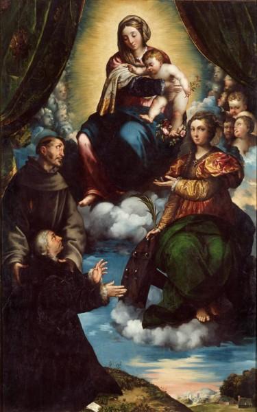 Madonna con Bambino e i santi Caterina di Alessandria, san Francesco e l'offerente Stampa Soncino