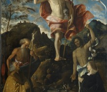 Resurrection of Christ between Saints Jerome and John the Baptist and the Donors Ottaviano and Domitilla Vimercati
