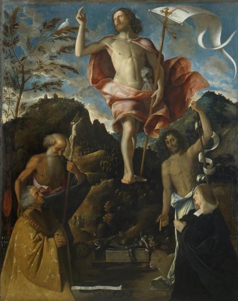 Resurrezione di Cristo tra i Santi Girolamo e Giovanni Battista e gli offerenti Ottaviano e Domitilla Vimercati in orazione
