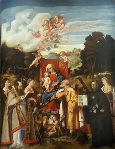 Madonna in trono e angeli tra i Santi Apollonia, Agostino, Caterina, Giuseppe, Grata, Filippo Benizzi e Barbara (o Adleida)