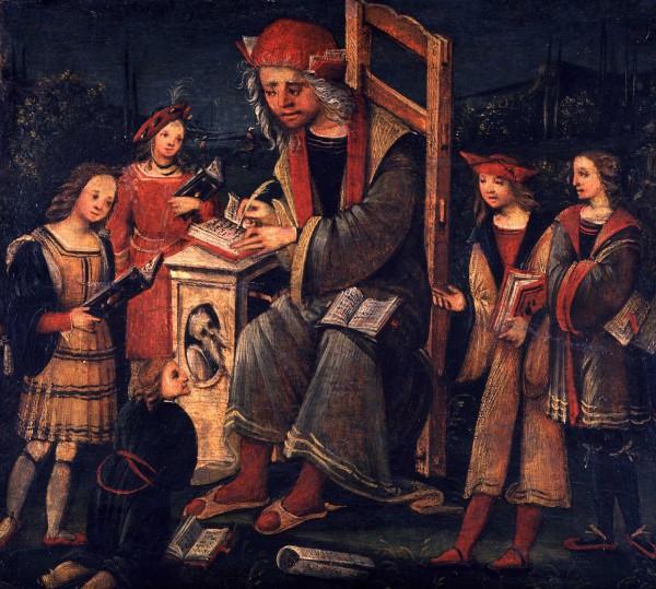Un maestro in cattedra con i suoi scolari