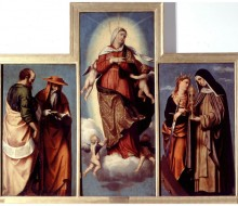 The Assumption of the Virgin between Saints Jerome and Mark (?), Catherine of Alexandria and Clare; Saint Francis of Assisi
