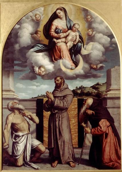 Madonna con il Bambino in gloria e i Santi Girolamo, Francesco e Antonio Abate