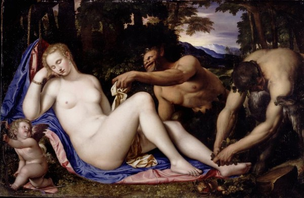 Venere e Cupido con due satiri in un paesaggio