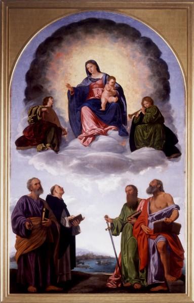 Madonna in gloria con il Bambino, due angeli musicanti e i Santi Pietro, Domenico, Paolo e Girolamo. (Pala Pesaro)
