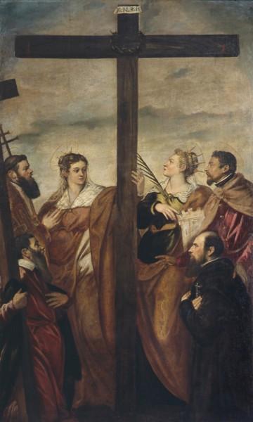 Sant'Elena, Santa Barbara, Sant'Andrea, San Macario, un altro Santo e un devoto adorano la croce