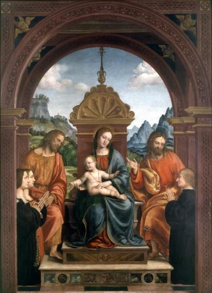 Madonna con Bambino in trono, i Santi Giacomo e Filippo e la famiglia Busti (Pala Busti)