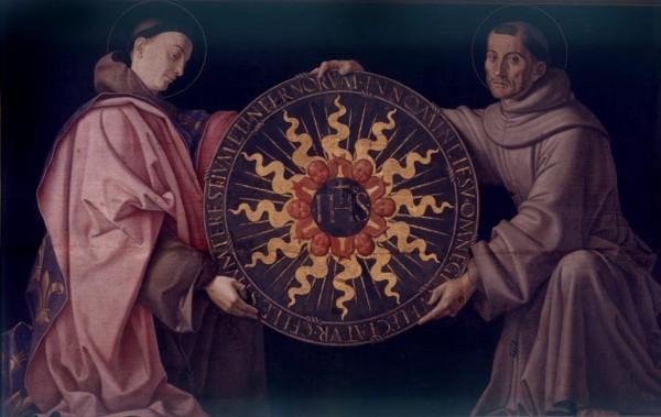 San Ludovico e San Francesco reggono il monogramma di Cristo