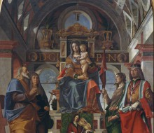 Madonna and Child between Saints Andrew, Monica, Ursula and Sigismund and Angels playing musical instruments