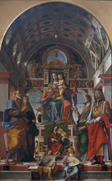 Madonna con il Bambino in trono fra i Santi Andrea, Monica, Orsola e Sigismondo e angeli musicanti
