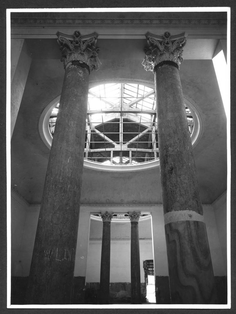 Milano, Pinacoteca di Brera: la ricostruzione, le colonne dei Saloni Napoleonici e i lucernari terminati