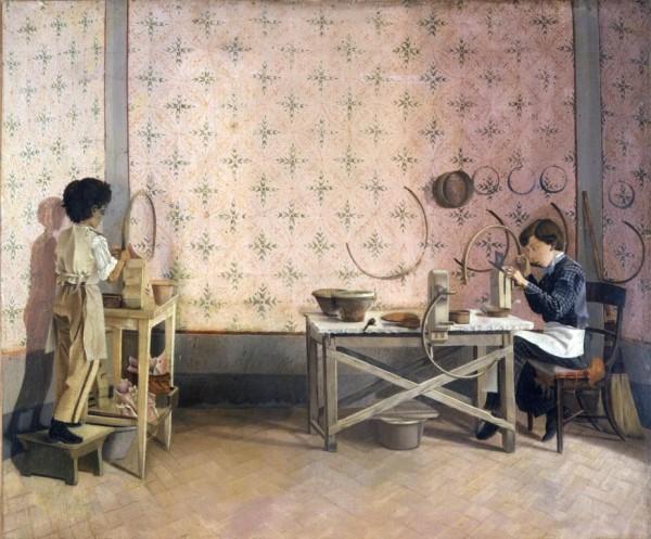 Ragazzi che lavorano l'alabastro