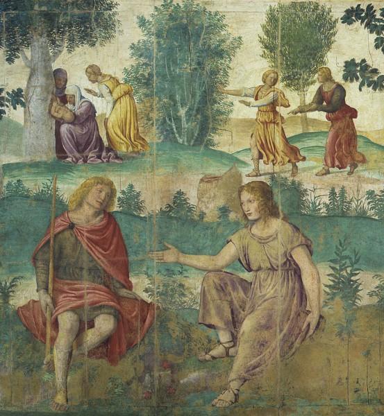 Scena mitologica con la nascita di Adone sullo sfondo