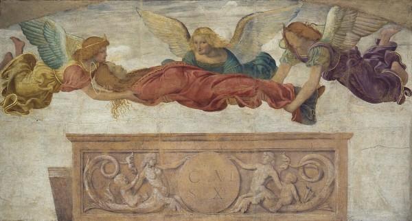 La salma di Santa Caterina trasportata dagli angeli
