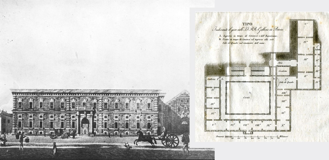 Palazzo di Brera (19th century) and ground plan of the Pinacoteca in the early 20th century