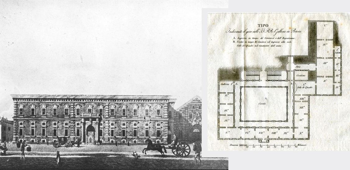 Palazzo Brera ('800) e piantina della Pinacoteca a inizio '900