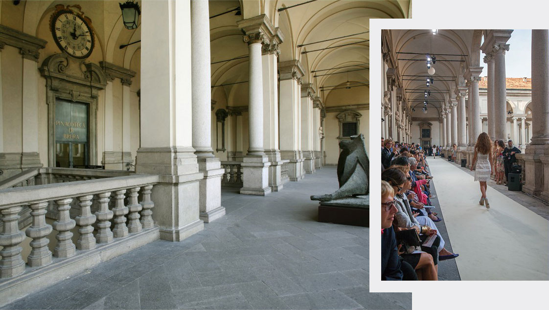 The upper portico of the Pinacoteca di Brera and a moment in the Luisa Beccaria fashion show.