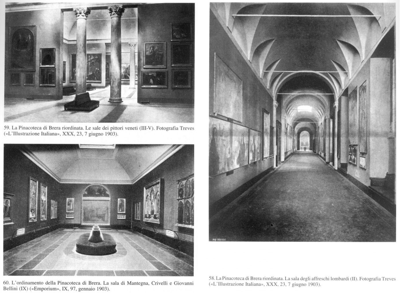 Brera renovated: above left the rooms housing work of the Venetian school, below the Mantegna, Crivelli and Giovanni Bellini room. On the right the Lombard frescoes room on 7 June 1903