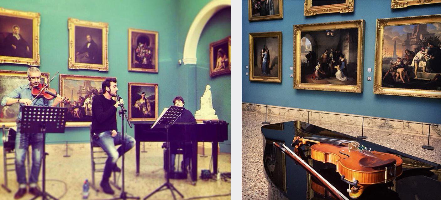 """Marco Mengoni canta """"C'è tempo"""" di Ivano Fossati tra i dipinti della Pinacoteca di Brera."""