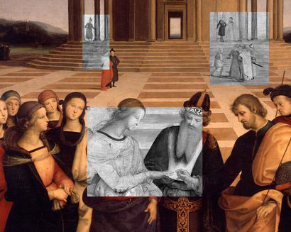 Example of an infrared reflectographic inspection performed with a scanner. Raphael, Marriage of the Virgin (detail) oil on wood