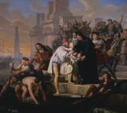 Cristoforo Colombo in partenza dal porto di Palos raccomanda i figli a Padre Giovanni Perez