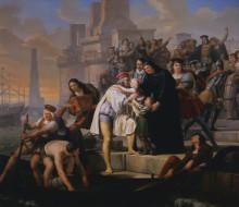 Colombo che stando per imbarcarsi nel porto di Palos per intraprendere il suo primo viaggio di scoperta abbraccia i suoi due figli e li raccomanda al suo protettore Padre Giovanni Perez