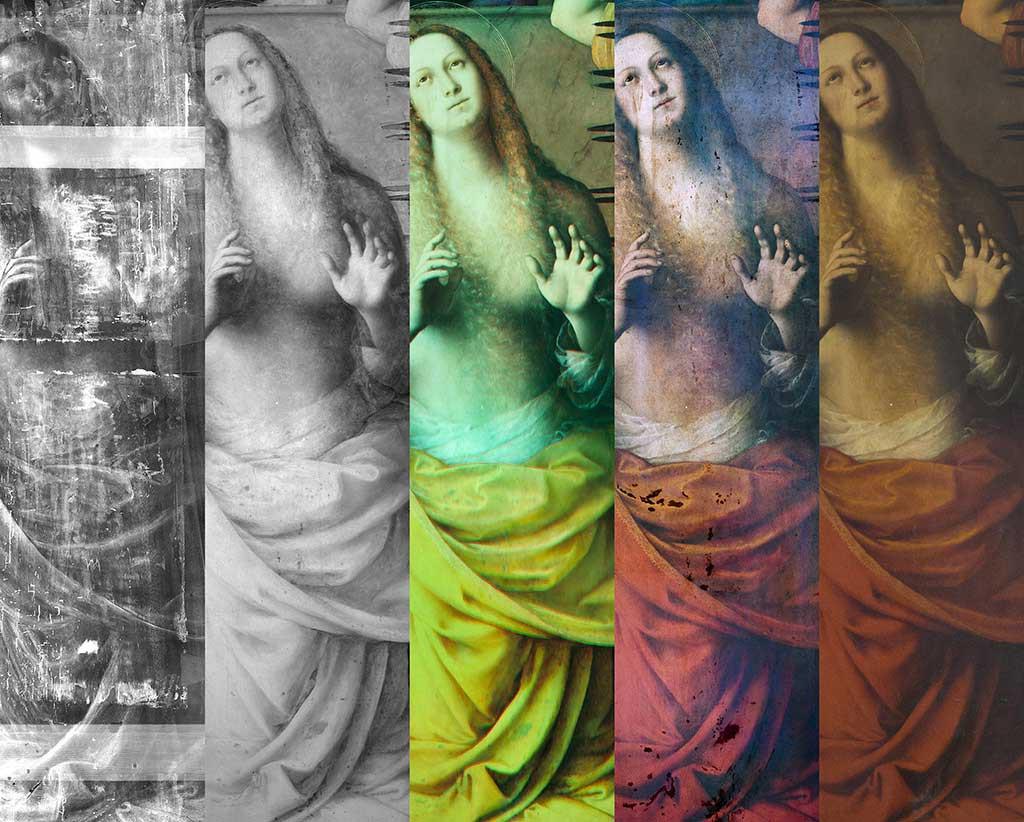 Particolare di Santa Caterina in radiografia, riflettografia, infrarosso falso colore, fluorescenza ultravioletta e luce visibile.