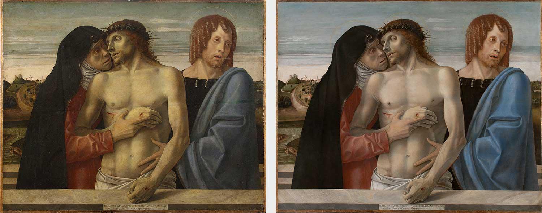 Giovanni Bellini, Pietà, prima e dopo del restauro.