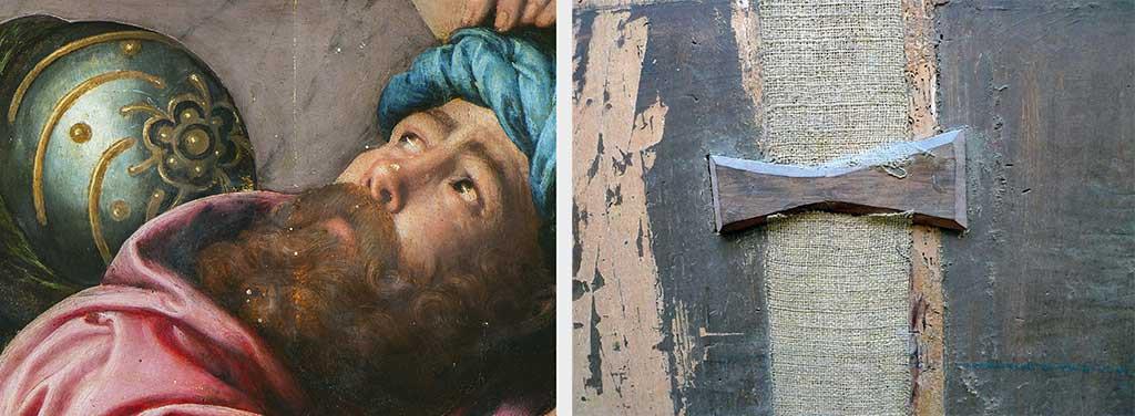 """4. A sinistra, particolare di un personaggio sulla destra, durante il restauro.  5. A destra, dettaglio di un inserto a """"farfalla"""" sul supporto ligneo."""