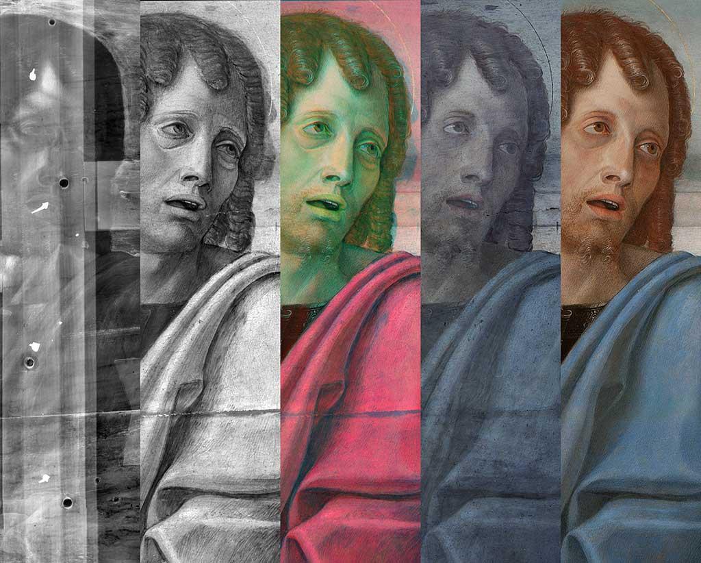 3. Particolare di Giovanni in radiografia, riflettografia, infrarosso falso colore, fluorescenza ultravioletta e luce visibile.