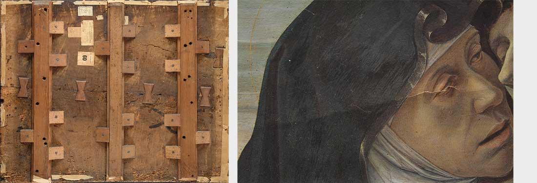 Da sinistra, verso del dipinto prima del restauro e particolare di Maria prima del restauro, si nota la fessurazione passante.