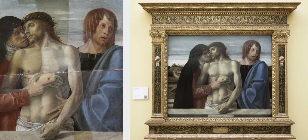 A sinistra, rimozione delle vernici e delle ridipinture alterate. A destra, il dipinto dopo il restauro nella sua cornice.