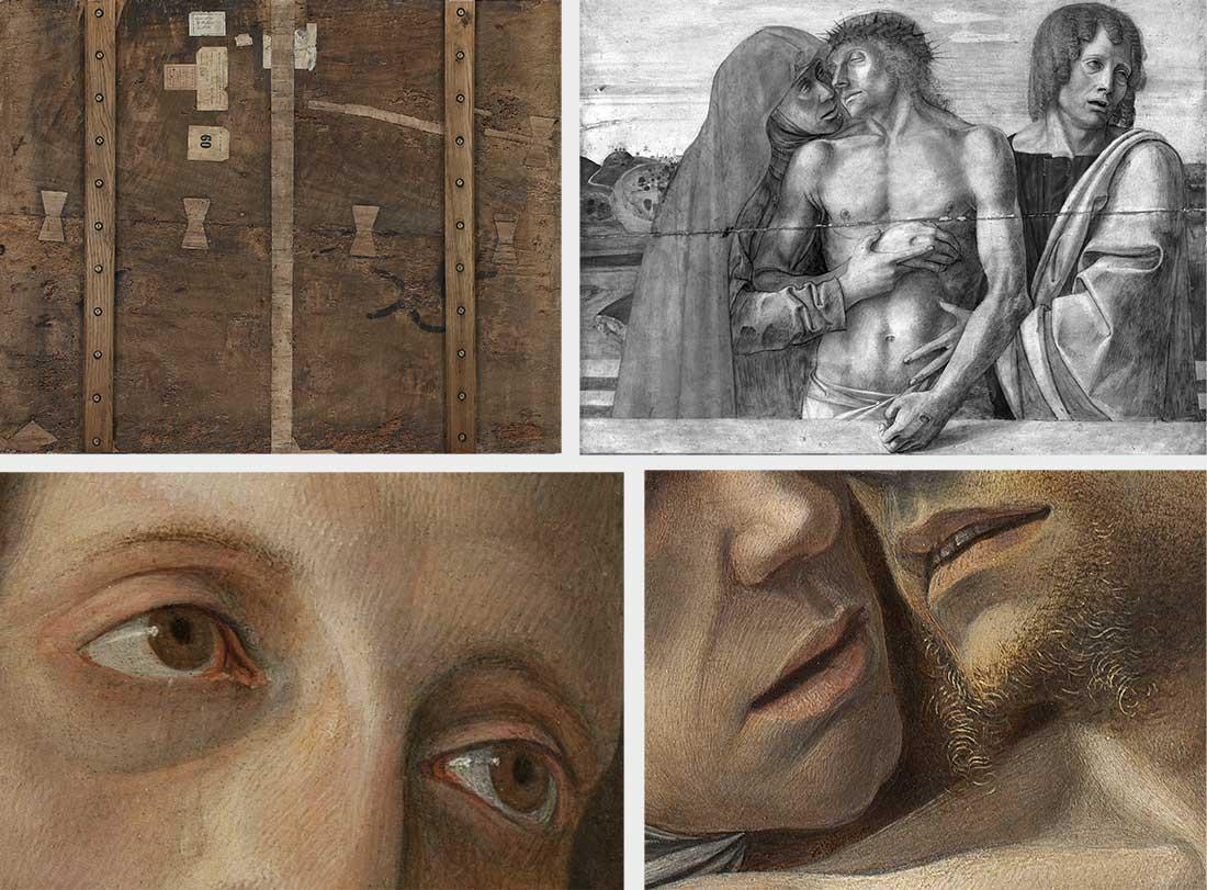 In alto, da sinistra, verso del dipinto dopo il restauro e riflettografia infrarossa. In basso, da sinistra, dettaglio degli occhi di Giovanni e accanto dettaglio dai volti di Maria e Gesù.