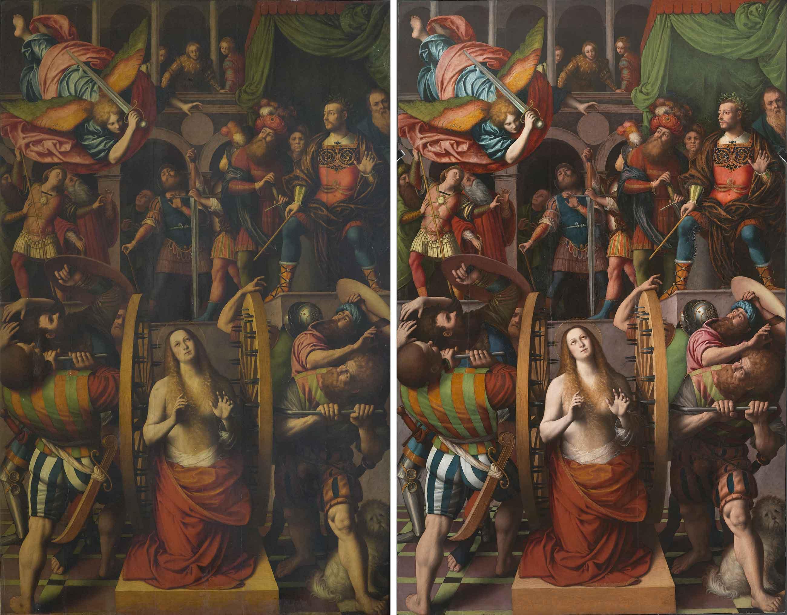 L'opera prima, a sinistra, e dopo il restauro
