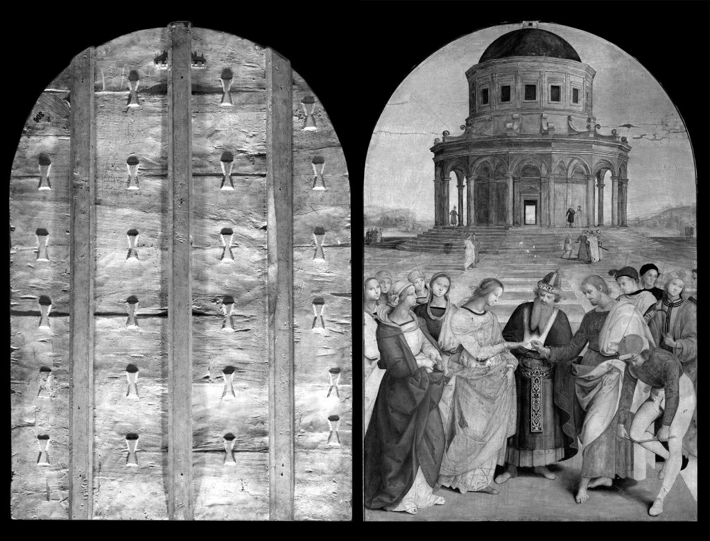 2. The back of the painting, on the left. 3. Reflectography; note the drawing traced from the cartoon and the direct engraving of the paved floor. (on the right).