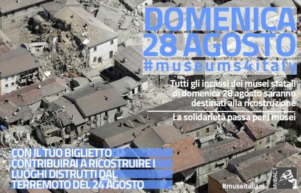 EMERGENZA TERREMOTO: ai territori colpiti gli incassi di domenica 28 agosto