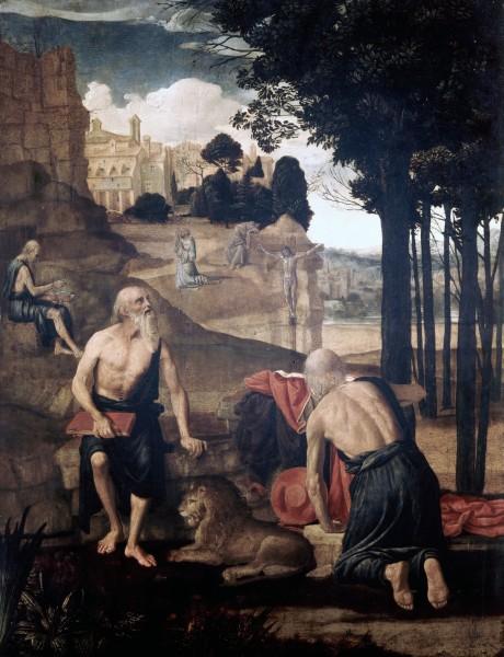 Scene dalla vita di san Gerolamo; san Francesco in estasi e frate Leone
