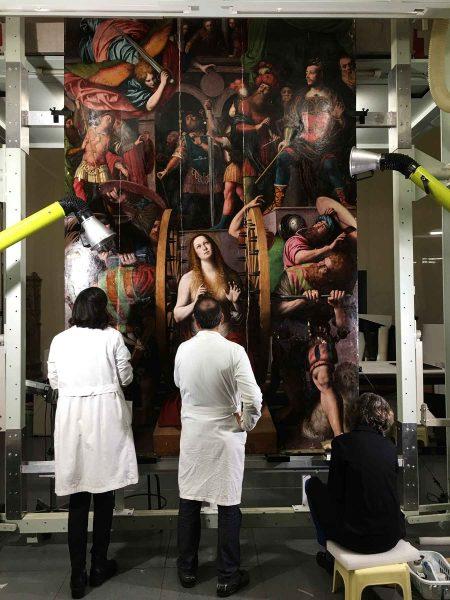 Il laboratorio di restauro visibile della Pinacoteca di Brera.