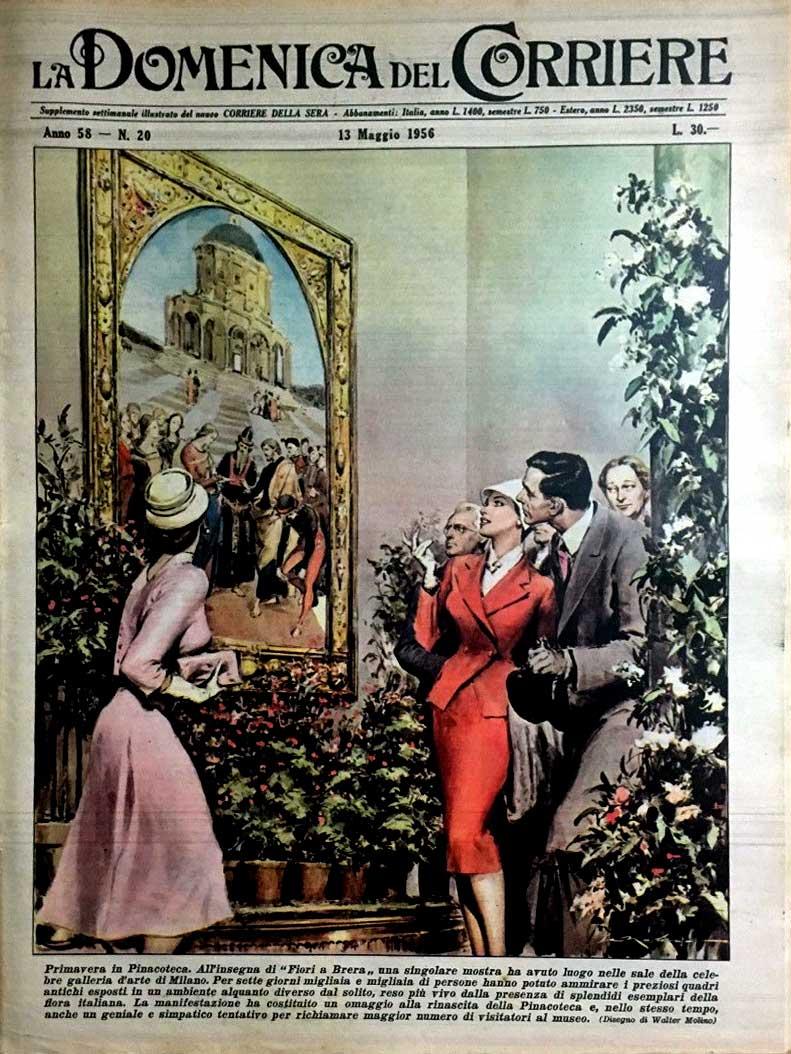 """La copertina de La Domenica del Corriere dedicata all'evento """"Fiori di Brera""""."""