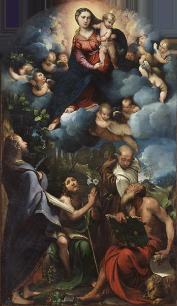 Madonna con il Bambino in gloria e i Santi Bartolomeo, Giovanni Battista, Alberto e Gerolamo, Camillo Boccaccino. 1532, olio su Tela.